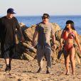 Exclusif - Rob Kardashian est venu assister à la séance photo de sa compagne Blac Chyna qui pose pour la marque 138 Water à Malibu le 4 Février 2016.