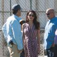 Amal Clooney et son père Ramzi Alamuddin rendent visite à son mari George Clooney sur le tournage de 'Suburbicon' à Los Angeles, Californie, Etats-Unis, le 21 octobre 2016.