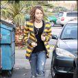La chanteuse Miley Cyrus sort du restaurant (Californie, USA)