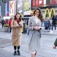Iris Mittenaere, Miss Univers 2017, lors d'un rendez-vous avec nos photographes à Times Square (New York) le 6 février 2017.