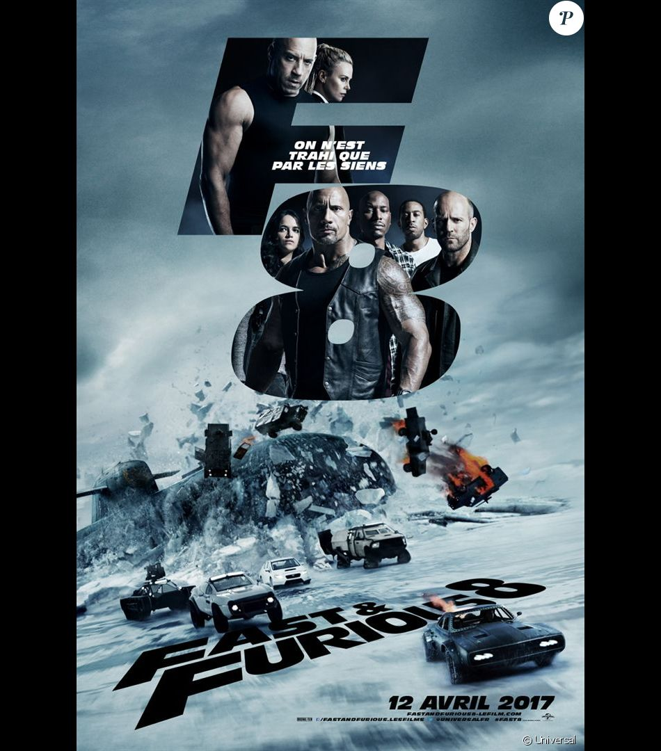 fast furious 8 l 39 affiche en salles le 12 avril 2017 purepeople. Black Bedroom Furniture Sets. Home Design Ideas