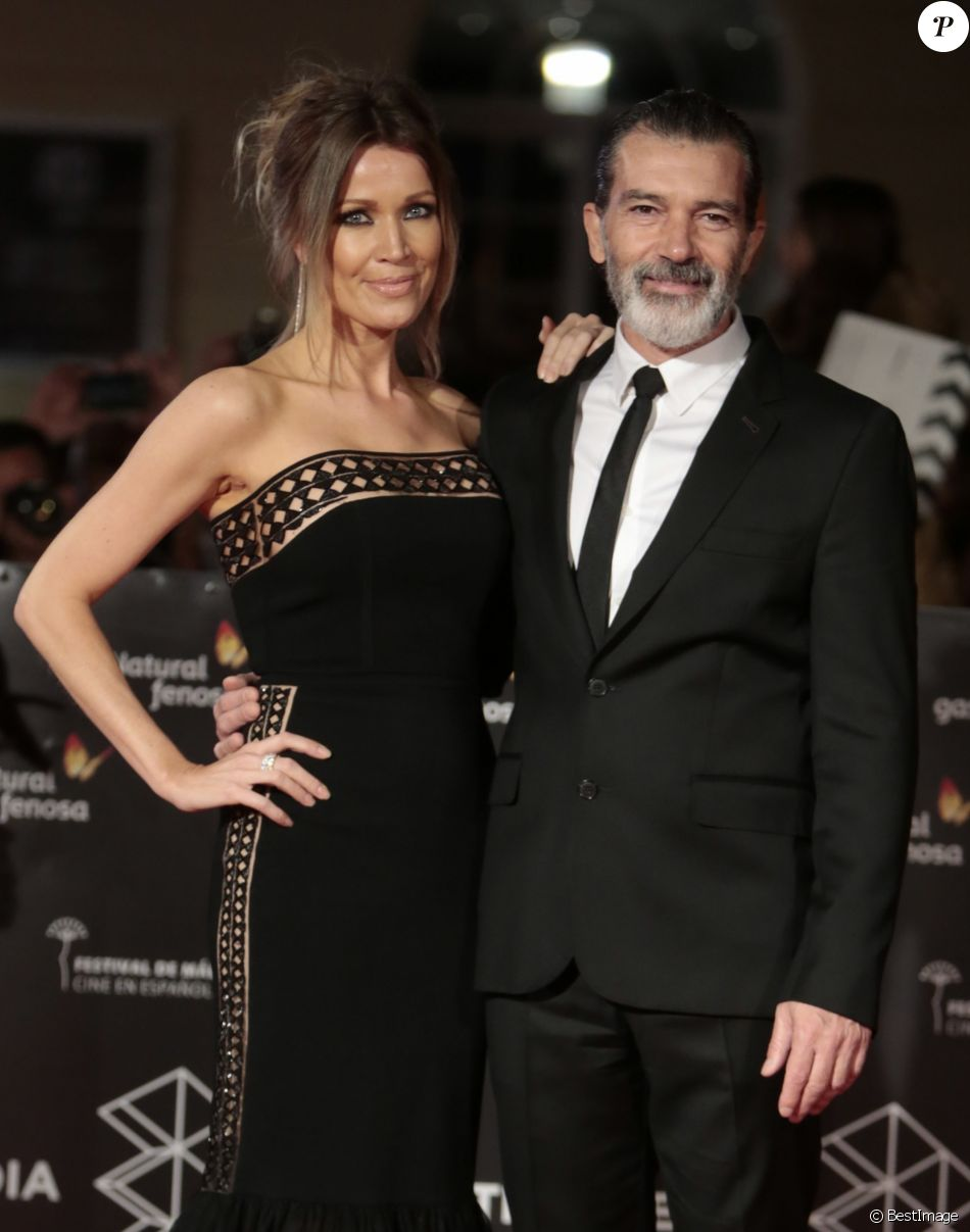 Antonio Banderas et sa compagne Nicole Kimpel à la cérémonie de clôture du 20ème Festival du Film de Malaga en Espagne, le 25 mars 2017