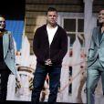 """Julianne Moore, Matt Damon et George Clooney sur la scène du CinemaCon 2017 au Caesars Palace le 28 mars 2017 à Las Vegas. Le trio présente le film """"Suburbicon""""."""