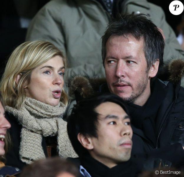 Jean-Luc Lemoine et sa compagne Adeline - People lors du match de football PSG contre Lille au parc des Princes a Paris le 22 décembre 2013.
