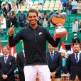 Rafael Nadal - Finale du Monte Carlo Rolex Masters 2017 sur le court Rainier III du Monte Carlo Country Club à Roquebrune Cap Martin le 23 avril 2017. Nadal a remporté le match en 2 sets, 6/1 - 6/3. Il remporte ici ce tournoi pour la dixième fois. © Olivier Huitel/Pool Monaco/Bestimage