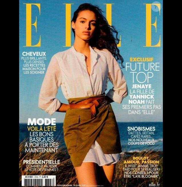 """Jenaye Noah en couverture du magazine """"ELLE"""" le 28 avril 2017."""