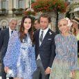 Lana Del Rey, son compagnon Francesco Carrozzini et Franca Sozzani (mère de Francesco Carrozzini) au mariage religieux de Pierre Casiraghi et Beatrice Borromeo sur les Iles Borromées, sur le Lac Majeur, le 1er août 2015.