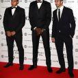 "Memphis Depay, Paul Pogba et Henrikh Mkhitaryan - Photocall du dîner de gala ""The United for UNICEF"" au stade Old Trafford à Manchester, le 31 octobre 2016."