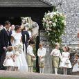 Kate Middleton pendant le mariage de Pippa Middleton et de James Matthews à l'église St Mark à Englefield le 20 mai 2017