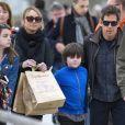 Exclusif - Ben Stiller arrive en famille avec sa femme Christine Taylor et ses enfants Quinlan et Ella à Venise en Italie le 29 mars 2015.