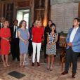 Akie Abe, la femme du premier ministre Japonais S. Abe, Malgorzata Tusk, la femme de D. Tusk (Président du conseil Européen), Amanda Succi (compagne du maire de Catane) , Brigitte Macron (Trogneux) femme du président français E.Macron et Joachim Sauer le mari de la chancelière allemande A. Merk - Visite des conjoints des chefs d'États du G7 à la mairie de Catane en Sicile le 26 mai 2017 © Sébastien Valiela / Bestimage