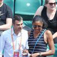 Marie-José Perec et son compagnon Sébastien Foucras dans les tribunes lors des internationaux de France de Roland Garros à Paris, France, le 1er juin 2017. © Jacovides-Moreau/Bestimage