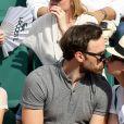 Anne Serra et Alban Lenoir dans les tribunes lors des internationaux de France de Roland Garros à Paris, France, le 1er juin 2017. © Jacovides-Moreau/Bestimage