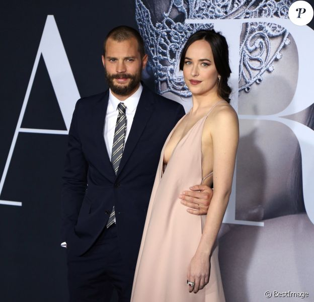 "Jamie Dornan et Dakota Johnson à la première du film ""Cinquante nuances plus sombres"" (Fifty Shades Darker) au Ace Hotel à Los Angeles le 03 février 2017."