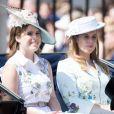 """La princesse Eugenie d'York et sa soeur La princesse Beatrice d'York - La famille royale d'Angleterre arrive au palais de Buckingham pour assister à la parade """"Trooping The Colour"""" à Londres le 17 juin 2017"""