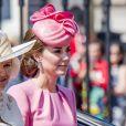 """Camilla Parker-Bowles, duchesse de Cournouailles et Catherine Kate Middleton, duchesse de Cambridge - La famille royale d'Angleterre arrive au palais de Buckingham pour assister à la parade """"Trooping The Colour"""" à Londres le 17 juin 2017."""