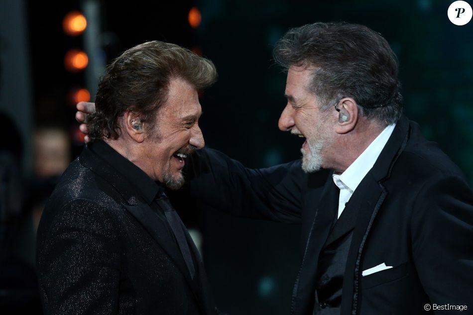 """Exclusif - Eddy Mitchell et Johnny Hallyday lors de l'Enregistrement de l'émission Spécial Johnny Hallyday, """"Johnny, la soirée événement"""", qui sera diffusée sur TF1 en prime-time le 20 décembre 2014"""