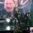 """Eddy Mitchell, Johnny Hallyday et Jacques Dutronc au Premier concert """"Les Vieilles Canailles"""" au POPB de Paris-Bercy à Paris, du 5 au 10 novembre 2014."""