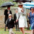 La princesse Diana avec son fils le prince William et sa mère Frances en septembre 1989 lors du mariage de Charles Spencer et Victoria Lockwood dans le Northamptonshire. © PA/ABACA.