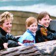 Lady Di, le prince Harry et le prince William dans le parc d'attractions Thorpe en avril 1993.