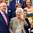 Le roi Albert II de Belgique, la reine Paola de Belgique - La reine Paola de Belgique fête son 80ème anniversaire avec 74 jours d'avance, à la chapelle musicale reine Elisabeth à Waterloo, entourée de ses enfants, ses petits enfants et d'autres membres de la famille royale. Belgique, Bruxelles, 29 juin 2017.29/06/2017 - Bruxelles