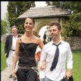 Exclusif - Christophe Maé (Martichon, de son vrai nom) et Nadège Sarron lors du baptême de Joy Hallyday à Lauenen en Suisse en juillet 2009. Le couple s'est marié civilement le 29 juin 2017 et religieusement le 1er juillet 2017 en Corse.