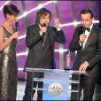 Jean-Luc Delarue, Carole Gaessler et Julien Doré aux Globes de Cristal. 02/02/09