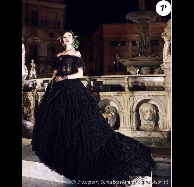 Sonia Ben Ammar a participé au défilé Dolce & Gabbana (nouvelle collection Alta Sartoria) à Palerme. Le 7 juillet 2017.