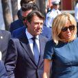 Christian Estrosi, le maire de Nice et Brigitte Macron (Trogneux) lors de la cérémonie d'hommage aux victimes de l'attentat du 14 juillet 2016 à Nice, le 14 juillet 2017. © Bruno Bébert/Bestimage