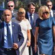 Laura Tenoudji (enceinte), son mari Christian Estrosi, le maire de Nice, Brigitte Macron (Trogneux) et Pierre-Olivier Costa lors de la cérémonie d'hommage aux victimes de l'attentat du 14 juillet 2016 à Nice, le 14 juillet 2017. © Bruno Bébert/Bestimage