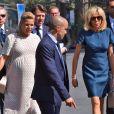 Laura Tenoudji (enceinte), son mari Christian Estrosi, le maire de Nice, Brigitte Macron (Trogneux), Pierre-Olivier Costa lors de la cérémonie d'hommage aux victimes de l'attentat du 14 juillet 2016 à Nice, le 14 juillet 2017. © Bruno Bébert/Bestimage