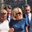 Laura Tenoudji (enceinte), son mari Christian Estrosi, le maire de Nice et Brigitte Macron (Trogneux) lors de la cérémonie d'hommage aux victimes de l'attentat du 14 juillet 2016 à Nice, le 14 juillet 2017. © Bruno Bébert/Bestimage