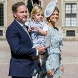"""""""La princesse Madeleine de Suède et son mari, Christopher O'Neill en compagnie de leurs enfants, la princesse Leonore et le prince Nicolas assistent à une messe à l'occasion du 40ème anniversaire de la princesse Victoria de Suède au palais Royal de Stockholm en Suède, le 14 juillet 2017"""""""