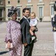 Le prince Carl Philip de Suède en compagnie de sa femme Sofia enceinte et de leur fils Alexandre assistent à une messe à l'occasion du 40ème anniversaire de la princesse Victoria de Suède au palais Royal de Stockholm en Suède, le 14 juillet 2017