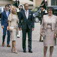 Anna Westling Söderström, son mari Mikael Söderström, Ewa Westling, son mari Olle Westling assistent à une messe à l'occasion du 40ème anniversaire de la princesse Victoria de Suède au palais Royal de Stockholm en Suède, le 14 juillet 2017