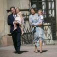 La princesse Madeleine de Suède et son mari, Christopher O'Neill en compagnie de leurs enfants, la princesse Leonore et le prince Nicolas assistent à une messe à l'occasion du 40ème anniversaire de la princesse Victoria de Suède au palais Royal de Stockholm en Suède, le 14 juillet 2017