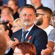 Franck Terrier (qui était sur son scooter le soir de l'attentat et avait tenté d'arrêter le camion) lors de la cérémonie d'hommage aux victimes de l'attentat du 14 juillet 2016 à Nice, le 14 juillet 2017. © Bruno Bébert/Bestimage