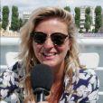 Emilie Picch interviewée par Purepeople.com lors de la conférence de presse du groupe NRJ. Juin 2017.