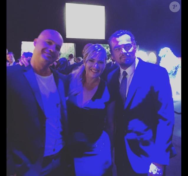 Billy Zane, Kate Winslet et Leonardo DiCaprio lors de la soirée de la Leonardo DiCaprio Foundation à Saint-Tropez le 26 juillet 2017