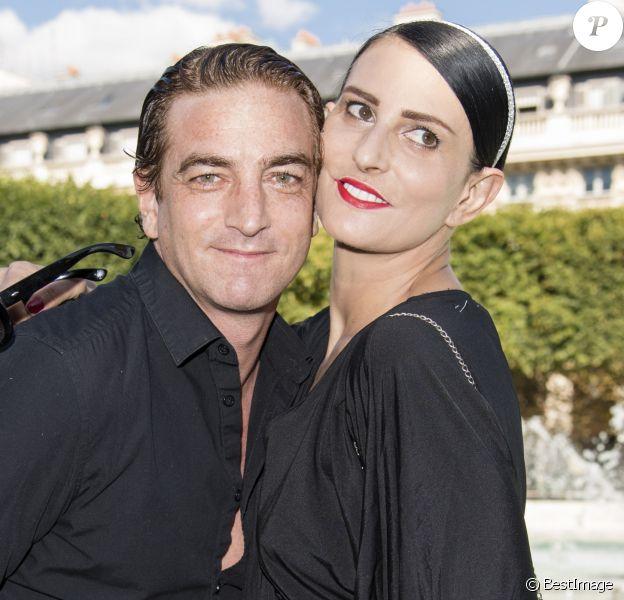 Ludovic Chancel (fils de Sheila) et Sylvie Ortega Munos - Présentation Petit Bateau x Marie-Agnès Gillot dans le bassin du jardin du Palais Royal à Paris, France, le 3 juillet 2017.