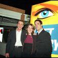 Benjamin Castaldi à l'époque du Loft, avec Alexia Laroche-Joubert, chez M6, Paris, le 23 mars 2001.
