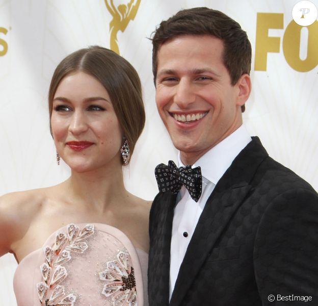 Andy Samberg et sa femme Joanna Newsom à la 67ème cérémonie des Emmy Awards au Microsoft Theatre à Los Angeles, le 20 septembre 2015