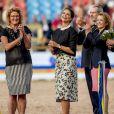 La princesse Madeleine de Suède lors de l'ouverture des championnats d'Europe d'attelage, de dressage, de para-dressage et de saut d'obstacles Longines Fédération Equestre Internationale (FEI) à Göteborg, Suède, le 21 août 2017. Quelques jours plus tard, Madeleine annonçait, le 27 août, être enceinte de son troisième enfant.
