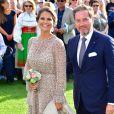 La princesse Madeleine et Christopher O'Neill lors des célébrations du 40e anniversaire de la princesse Victoria de Suède sur l'île d'Oland le 14 juillet 2017. Le couple a annoncé le 27 août 2017 attendre un troisième enfant.