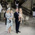 La princesse Madeleine de Suède et son mari Christopher O'Neill avec leurs enfants la princesse Leonore et le prince Nicolas à une messe à l'occasion du 40e anniversaire de la princesse Victoria de Suède au palais Royal de Stockholm en Suède, le 14 juillet 2017. Le couple a annoncé le 27 août 2017 attendre un troisième enfant.