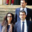 Françoise Bettencourt-Meyers et ses fils Nicolas Meyers et Jean-Victor Meyers - Jugements rendus des deux premiers procès de l'affaire dite Bettencourt pour trafic d'influence et abus de faiblesse sur la milliardaire Liliane Bettencourt. Au tribunal de Bordeaux, le 28 mai 2015.