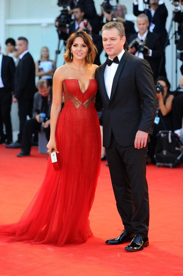 Matt Damon et sa femme Luciana Barroso - Première du film Downsizing lors de la cérémonie d'ouverture du 74e festival de Venise le 30 aout 2017.