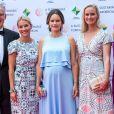 La princesse Sofia de Suède, enceinte, le 2 août 2017 à Bastad à l'occasion d'une conférence sur le développement durable et d'un dîner de gala.