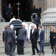 Pascal Desprez au côté du cercueil - Obsèques de Mireille Darc en l'église Saint-Sulpice à Paris. Le 1er septembre 2017