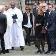 Pascal Desprez avec ses enfants - Obsèques de Mireille Darc en l'église Saint-Sulpice à Paris. Le 1er septembre 2017
